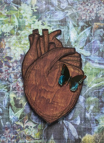 wooden heart, butterfly, heart art, anatomical heart, korsen