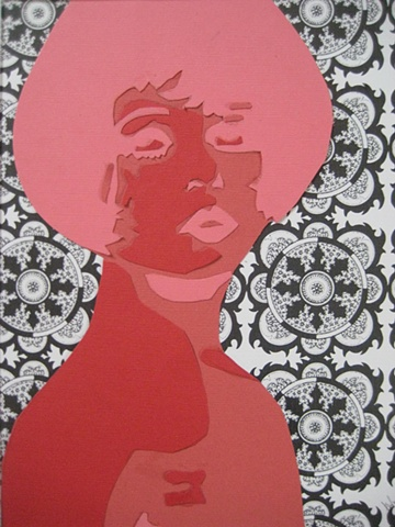 pop art, clara bow, stencil, mixed media, korsen, red art, decor