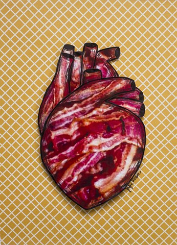 bacon art, heart art, i heart bacon, bacon social, korsen