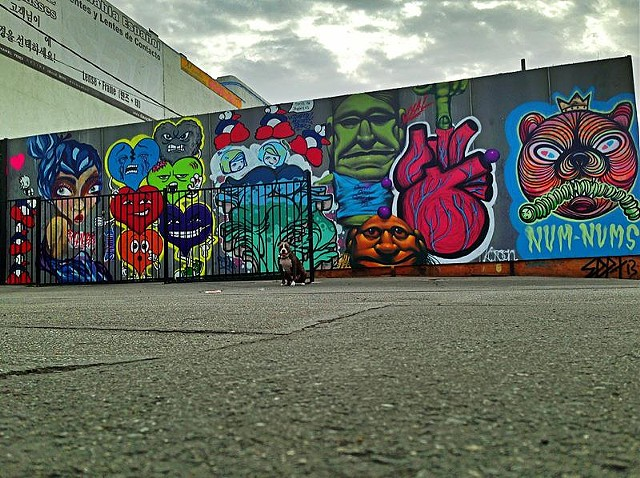 Lock and Key mural with Shadowmonsterbear, Pces, Dub Williams, Hydra, Vyal, and Septerhed