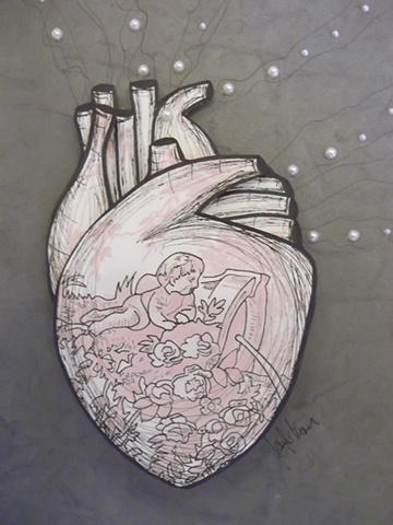 toile art, toileheart, heart art, art for kids, decor, anatomical art, korsen , paper heart