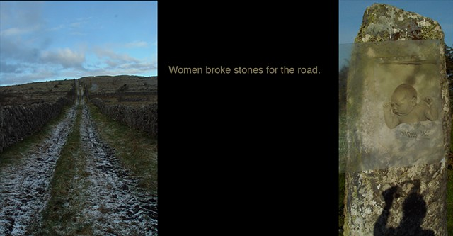 Women broke stones for the road.
