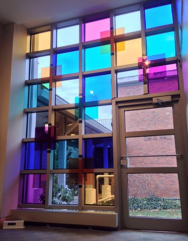 Stained Glass Light Pixelation Installation at Andover Newton Theological School's Sarly Gallery