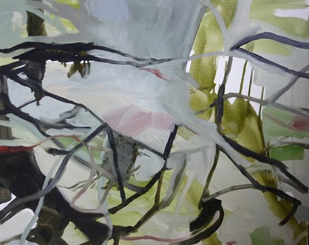 abstract contemporary oil painting, wetlands, swamps, water, australian artist, landscape by melissa boughey