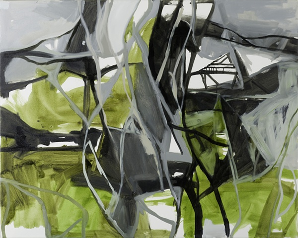 Abstract landscape depicting wetlands and paperbarks. shortlisted finalist fleurieu art prize 2011