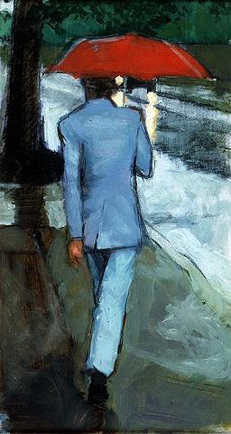Man Walking in Rain