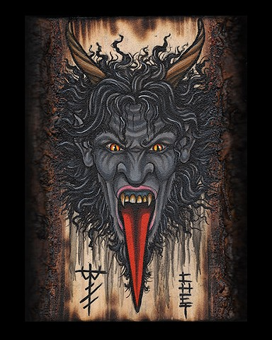 krampus painting on wood