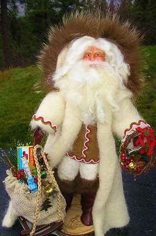 Folk Santa  in Cream Coat