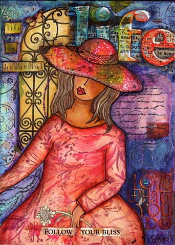 Girls with Hats Mixed Media collage/painting