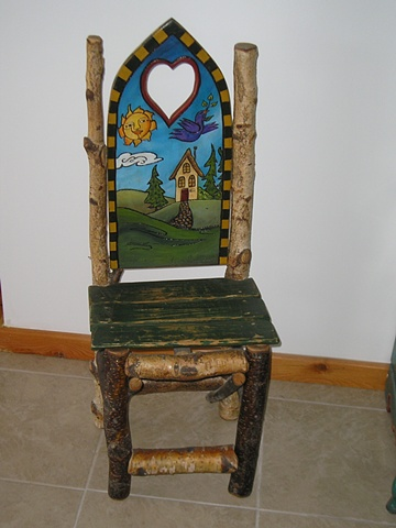 Rustic chair made of Alder wood and Painted back