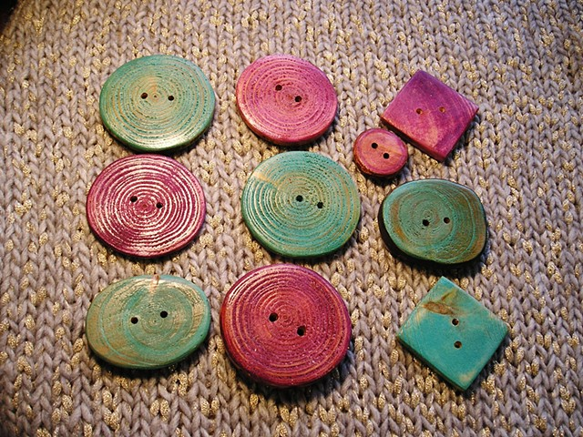 Hand Cut and colored Wooden buttons