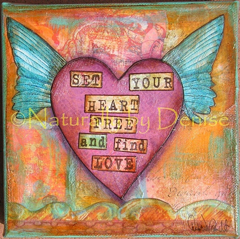 Mixed media Heart wings set your heart free and find Love