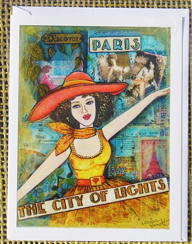 Paris City of Lights Blank Art card