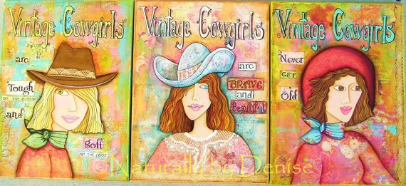 Vintage Cowgirls Set of Three Art Prints   9 X 12