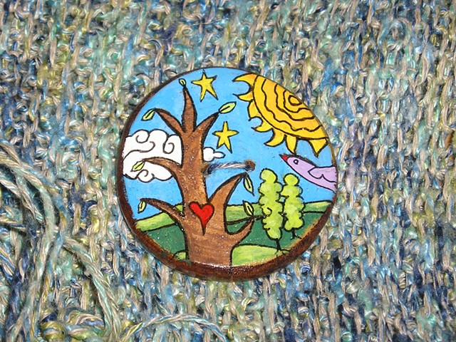 Tree of Love with Bird and sun Button #4