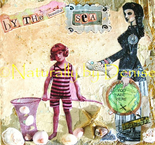 By the Sea altered Art Post card Shipping included