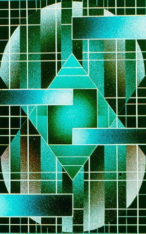 acrylic painting, geometric, abstract, carl lopes