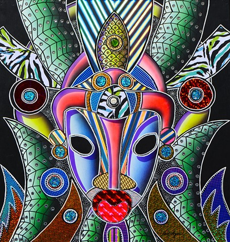 carl lopes, acrylic paintings, african masks, african mask paintings, fine arts