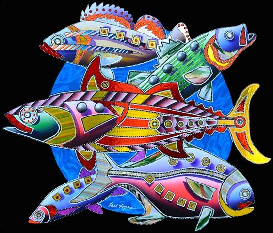 Carl Lopes, acrylic paintings, fine art, fish paintings, wildlife art