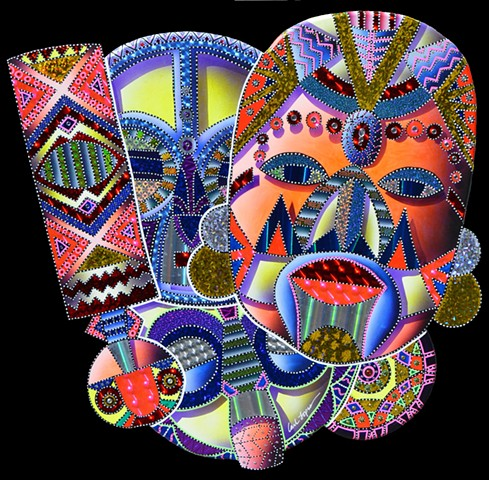 african mask paintings, fine arts, acrylic paintings, carl lopes, masks, african masks