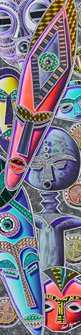 acrylic paintings, carl lopes art, african mask paintings