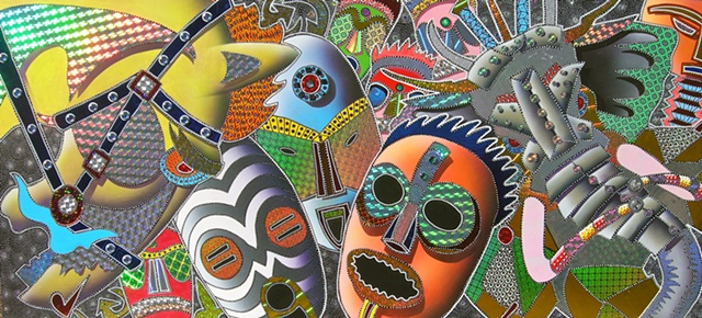 acrylic paintings, african masks, carl lopes, mask paintings, fine art