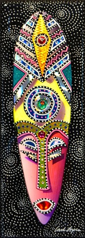 acrylics paintings, Carl Lopes, african mask paintings, zion union heritage museum