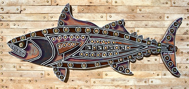 acrylic paintings, carl lopes, fish paintings, JFK recycled materials