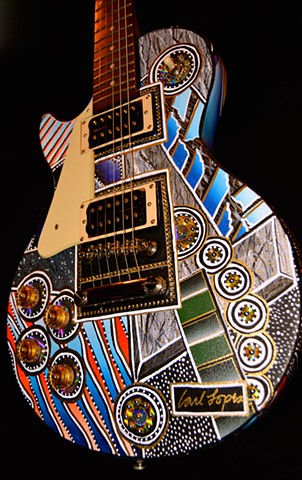 carl lopes, acrylic painting, guitar art, art, geometric art