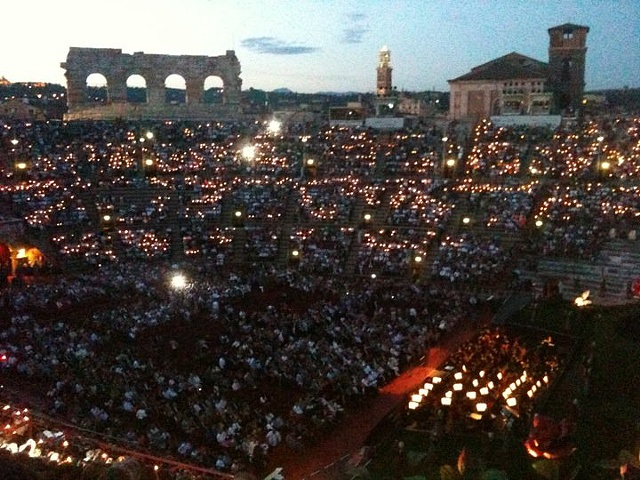 Audience in the Roman Arena in Verona, Italy - The Barber of Seville.