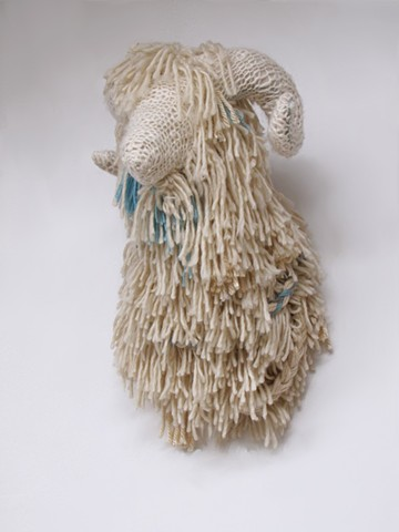 sheep, ram, taxidermy, sculpture, fiber art, wool, knitting, art