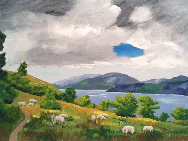 Perthshire, landscape, oil paintings, loch, sheep, viewpoint