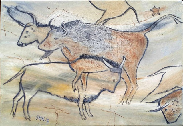 Spanish cave paintings, greeting cards, postcards, bulls, wildlife