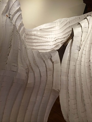 site specific installation sculpture using reclaimed paper and wood