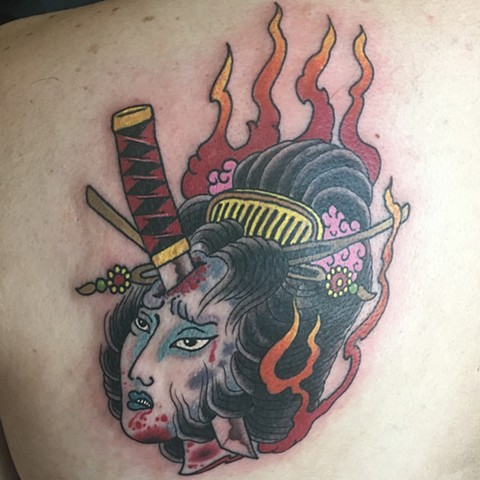 impaled geisha head