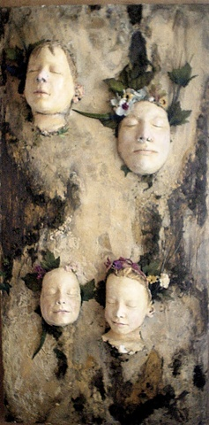 Distressed 3D art, Assemblage art, conceptual art, plaster masks