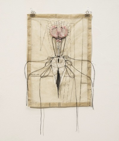Paper, Sculpture, drawing, Mixed media, thread