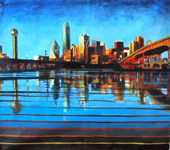 Arts in Dallas, Texas themed painting,dallas skyline, acrylic, paintings, dallas artist, dallas