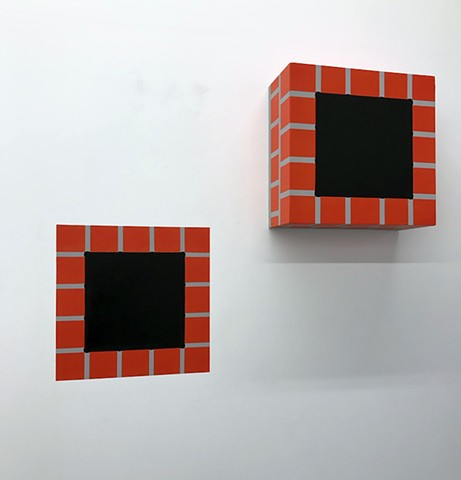 "CHIMNEY HOLE (2 PART) latex & acrylic on wood + acrylic on wall 14""x14""x6"" sculpture + one 14""x14"" wall painting 2019"