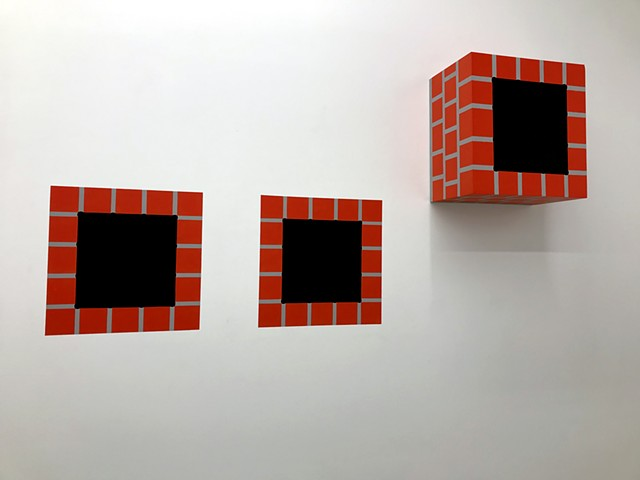 "CHIMNEY HOLE (3 PART) latex & acrylic on wood + acrylic on wall 14""x14""x8.75"" sculpture + two 14""x14"" wall paintings 2019"