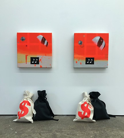 "ORANGE BANDIT 1 & 2 oil & alkyd on canvas + acrylic on bag 12""x12"" each canvas + two 11"" tall bags each 2019"