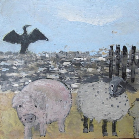 Cormorant with Sheep & Pig at the Beach