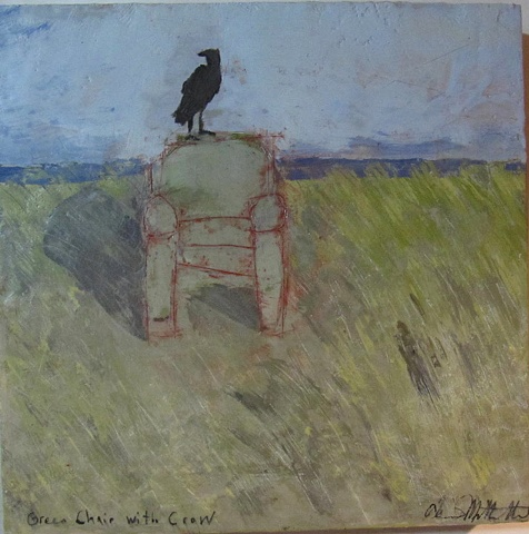 Green Chair with Crow