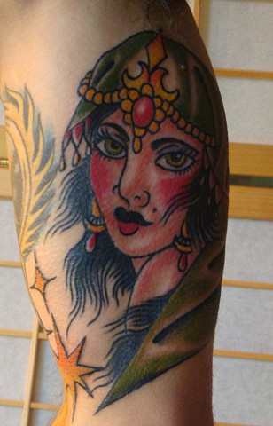 Steve Anderson, 920 Tattoo Company, 920 tattoo, oshkosh, oshkosh tattoo, gypsy, lady head, gyspy lady head tattoo, gyspy tattoo, lady head tattoo