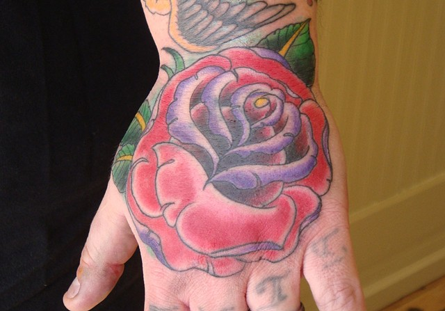 Hand, hand tattoo, tattoo, color tattoo, steven anderson, 920 tattoo company, 920 tattoo, oshkosh, fox valley, rose tattoo, rose, traditional rose, traditional tattoo