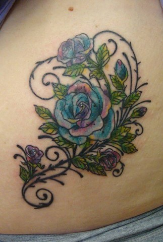 Watercolor roses. Lines healed, color fresh.