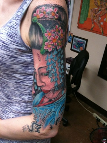 geisha, tattoo, girl tattoo, lady face, tattoo studio, tattoo shop, Oshkosh, 920 tattoo company, Steven Anderson