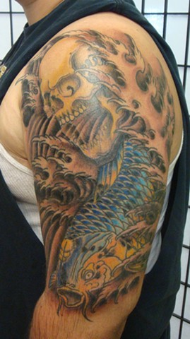 Steve Anderson, 920 tattoo, 920 tattoo co, 920 tattoo company, oshkosh, downtown oshkosh, koi, koi tattoo, tattoo, tattoos, skull, skull tattoo, japanese tattoo, japanese tattoos