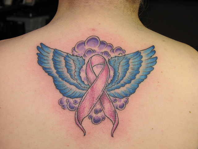 cancer ribbon tattoo, wing tattoo, tattoo shop, tattoo studio, tattoo Oshkosh, Steven Anderson, 920 tattoo company