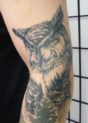 Steve Anderson, 920 tattoo co, 920 tattoo company, oshkosh, downtown oshkosh, wi, wisconsin, wisconsintattoo artists, owl, owl tattoo, great horned owl, great horned owl tattoo, tattoo, tattoos